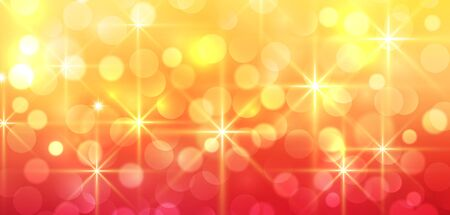 Orange sunny background, vector new year bokeh blurry background
