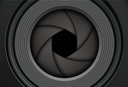 Fondo de tecnología, lente de cámara fotográfica con obturador, ilustración vectorial