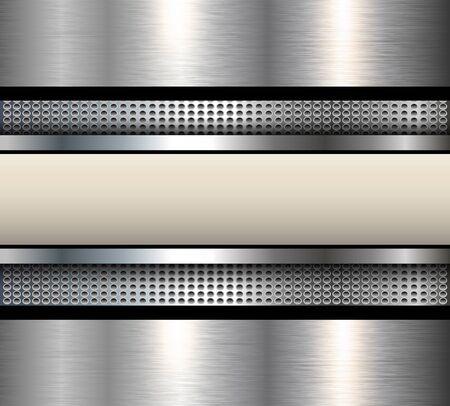 Fondo con barras de placa de metal de aluminio, vector.