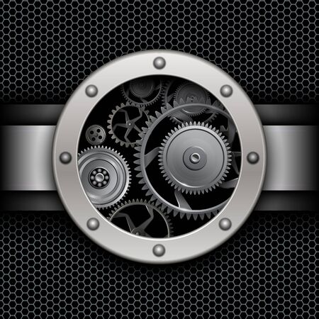 Background with button and machinery cog gears over hexagons pattern texture, vector illustration