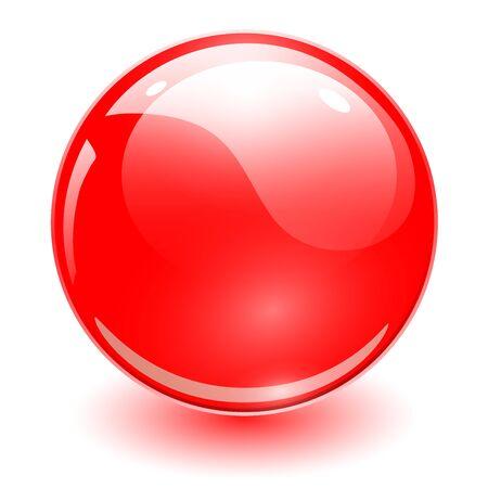 Glass sphere red, vector shiny ball. Ilustración de vector