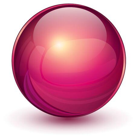 Red sphere, 3d vector galss ball.