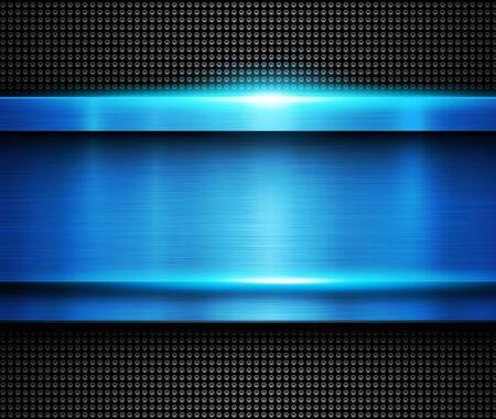 Background metallic blue, vector metal texture.