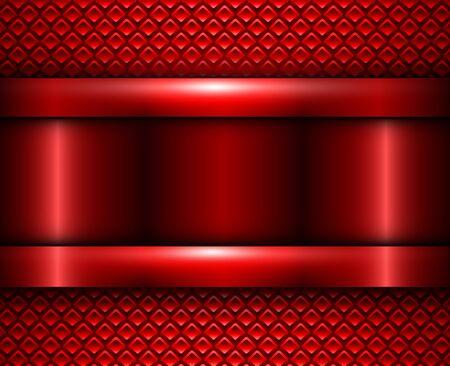 Background red metallic, vector metal texture design. Ilustração Vetorial