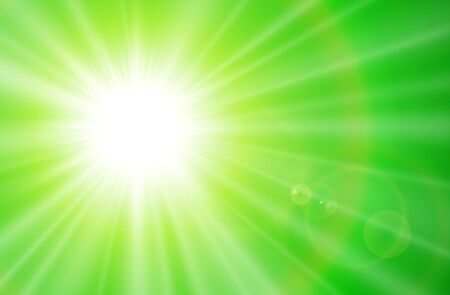 Sun with lens flare, vector natural green sunny background.