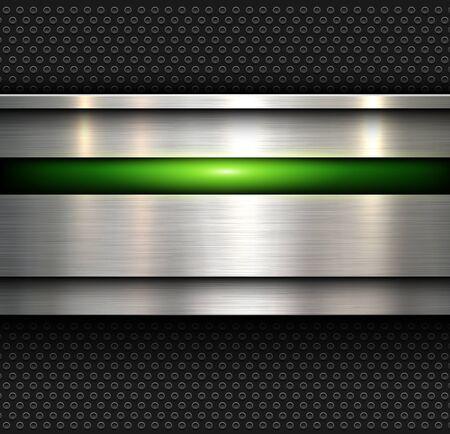 Fond, texture en métal poli avec fond texturé motif trous, illustration vectorielle.