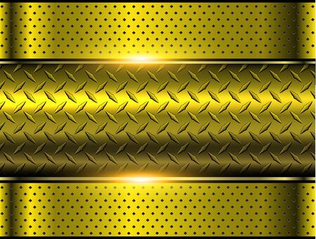 Background gold metallic, 3d chrome vector design with diamond plate sheet metal texture.