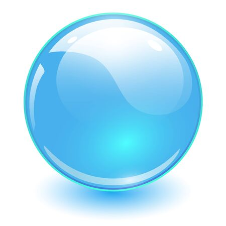 Sphère de verre bleu, boule brillante de vecteur.