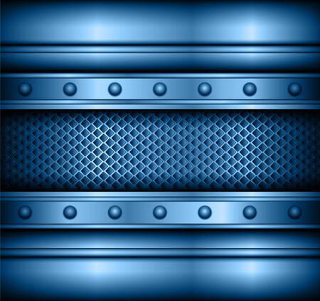 Background blue metallic, 3D vector illustration