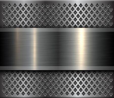 Metal background, steel brushed metallic banner over perforated texture, vector design. Ilustración de vector