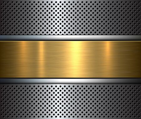Metallic background with perforated holes pattern and metal texture, vector illustration.