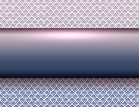 Metallic background purple blue, 3d bannner over perforated texture, vector illustration.