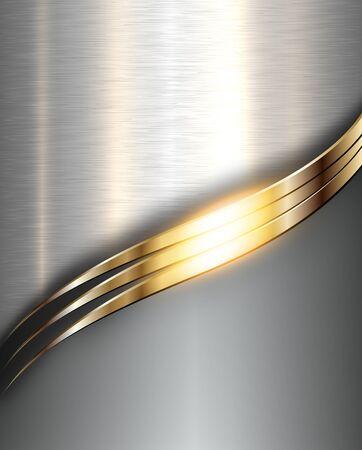 Metal background, elegant silver gold vector metallic texture