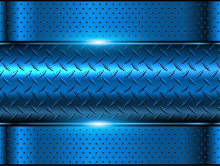 Background blue metallic, 3d chrome vector design with diamond plate sheet metal texture.