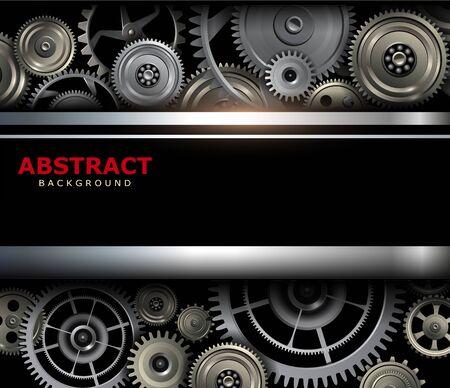 Background metallic with technology gears, vector illustration. Vecteurs