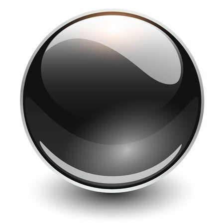 Glass sphere black, vector shiny ball.