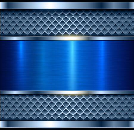 Metallic background blue, shiny metal elegant texture, vector illustration. Vector Illustration