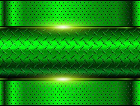 Background green metallic, 3d chrome vector design with diamond plate sheet metal texture. Vetores