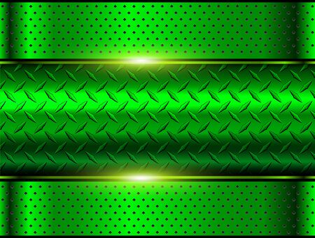Hintergrund grün metallic, 3D-Chrom-Vektordesign mit Diamantplatten-Blechbeschaffenheit. Vektorgrafik