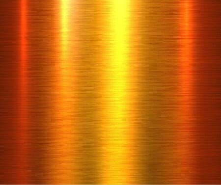 Fond de texture en métal doré, plaque de texture métallique brossée dorée. Vecteurs