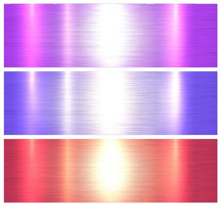 Metallic textures, colorful brushed metal backgrounds, vector illustration. Vettoriali