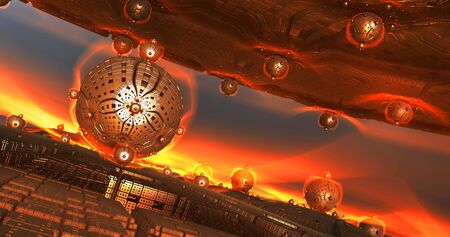 Abstract background 3D, vision of a fiery planet with alien constructions and structures, interesting sci fi render illustration.
