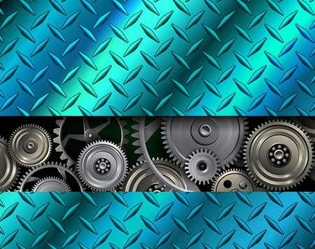 Technology background, stainless steel texture metallic with metal gears inside, vector illustration.