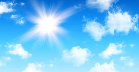 Sunny background, blue sky with white cumulus clouds and glaring sun, natural summer background, vector illustration.