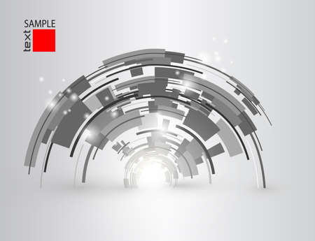 Technology background, abstract 3d gray shapes interesting vector design.