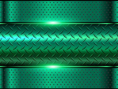 Background green metallic, 3d chrome vector design with diamond plate sheet metal texture.