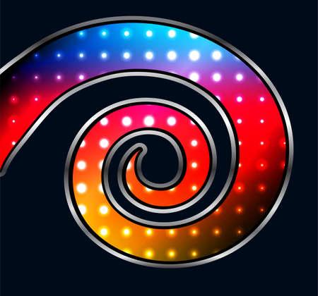 Abstract background, 3D spiral design with hexagons on rainbow dots, vector illustration. Illusztráció
