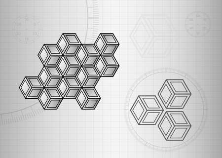 Technology background, gray with 3d cubes and shapes, interesting technical sketch vector design.