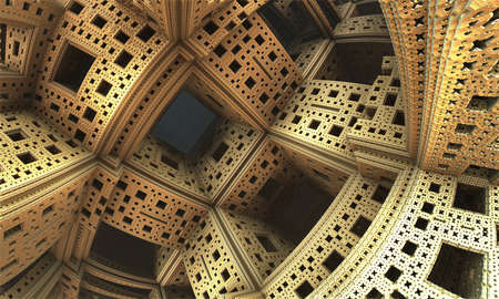 Abstract background, fantastic 3D gold structures and rooms, fictional sci fi background.