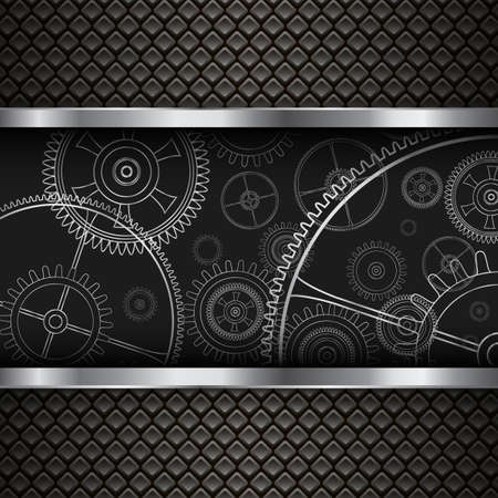 Technology background, 3D with mechanical gears inside, vector illustration. Illusztráció