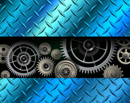 Technology background, stainless steel texture metallic with metal gears inisde, vector illustration.