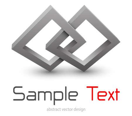 Logo abstract 3D shape black and red, vector illustration abstract symbol. Illusztráció