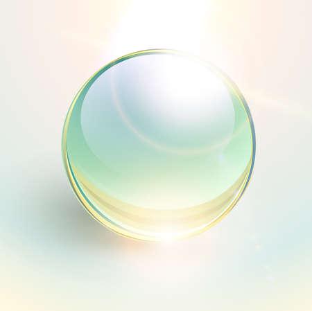 Background with shiny green sphere, 3D glossy ball dynamic vector illustration. Illusztráció