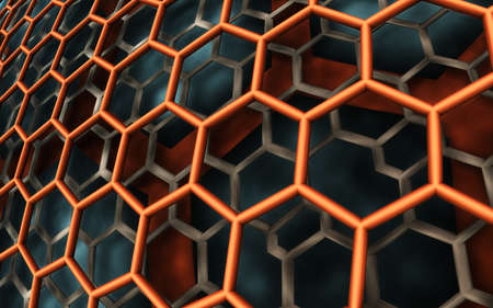 Abstract background, fantastic 3D hexagon structure, render illustration Stock fotó