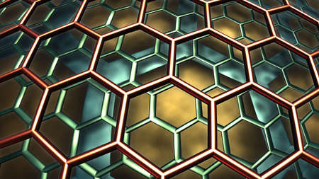 Abstract background, fantastic 3D hexagon structure, fractal design.