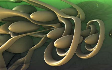 Abstract background 3D, fantastic gold shapes, interesting underwater render illustration.