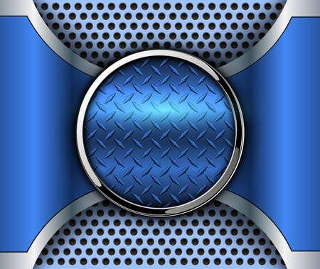 Metallic background 3D with shiny button and diamond plate metal texture, vector design. Illusztráció