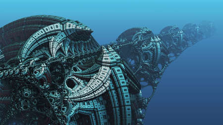 Abstract background, fantastic 3D blue metal structures, ancient civilization fictional background. Stock fotó