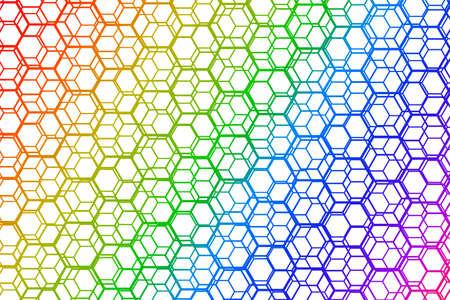 Rainbow gradient background, interesting hexagonal shapes pattern vector design.