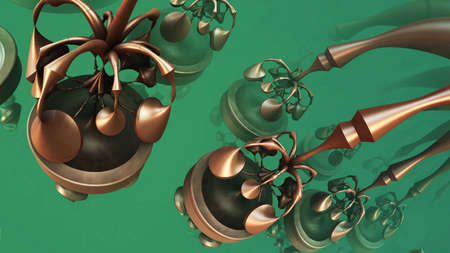 Abstract background fantastic metallic shapes, 3D render. Stock fotó