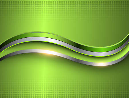 Business background, silver green metallic elegant 3D vector design.