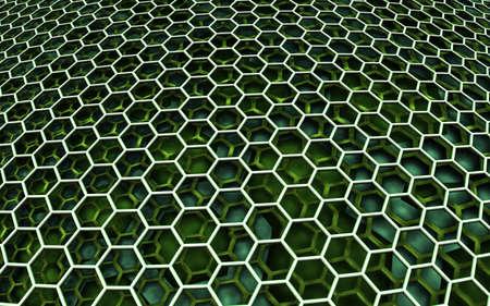 Abstract background, 3D hexagonal pattern, render illustration.