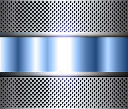 Metallic background with perforated holes pattern silver blue, vector illustration.