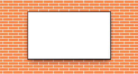 TV with white screen on brick wall background, technology vector template with copy space.