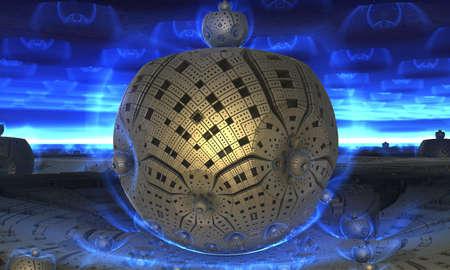 Abstract background 3D, fantastic gold spheres, interesting underwater render illustration.