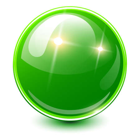 Green sphere 3D, glossy and shiny vector ball icon.